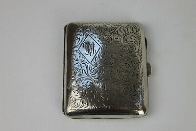 Antique art deco silver cigarette case. Hallmarked 1928 SW Goode & Co Birmingham