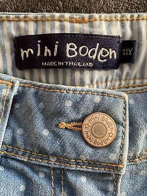 Mini Boden Girls Cropped Spot Jeans Age 11