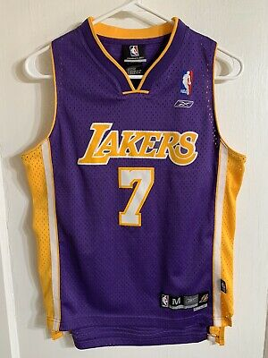 Authentic Los Angeles Lakers Lamar Odom Reebok Youth Sz M Basketball Jersey A2