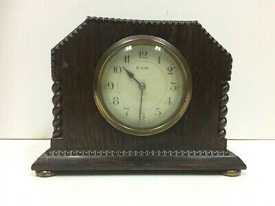 Vintage/Antique French Japy Freres 8 Day Oak Mantel Clock