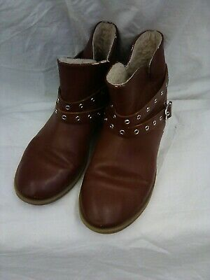 Zara Girls Women's Brown Faux Leather Fashion Booties Boots Size 34