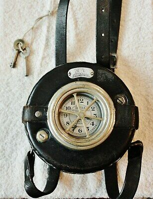 DETEX NEWMAN Night-Watchman's Clock Circa 1920 + Keys - Good Working Condition