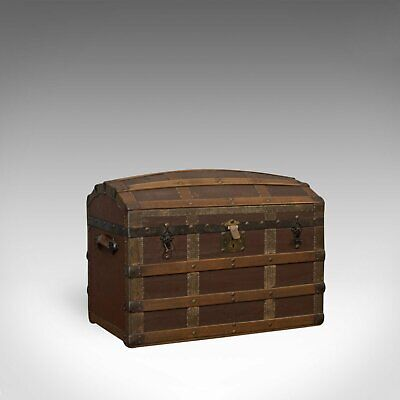 Antique Dome Top Trunk, English, Oak, Carriage Chest, Coffer, Edwardian, C.1910