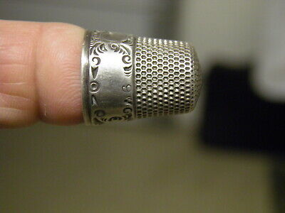 Antique Mko Sterling Silver Thimble - Size 9  - Beautiful & Ornate