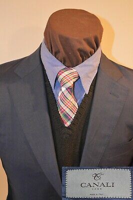 Bespoke Canali mens 2btn textured blue wool sport coat jacket blazer e52R us 38S