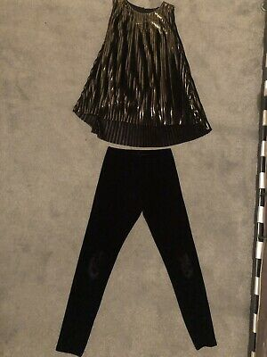 Two Piece Gold/Black Pleated Top & Black Velvet Leggings From Next Age 10Yr