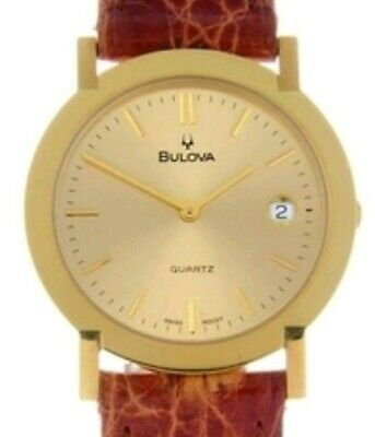 Bulova A gentleman's Watch 18k Gold Champagne Dial Crocodile Strap