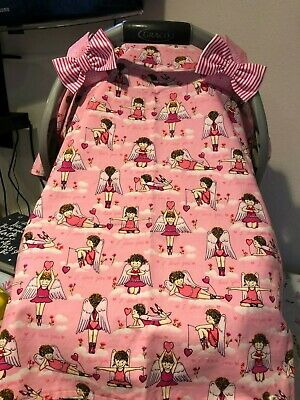 Angel print handmade baby car seat canopy/cover