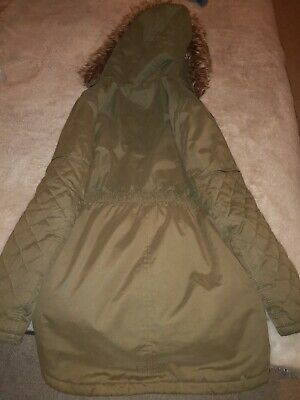 M&S Childs Coat Aged 11 - 12 years. Khaki Green with faux fur trimmed hood.