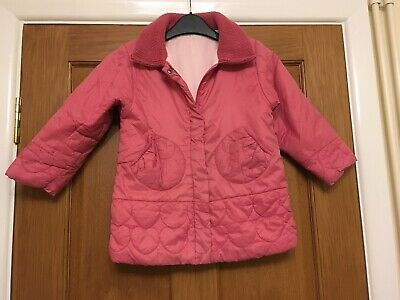 Pink Padded Warm Coat Age 2-3 Years Hearts Collar Fleece Lined Poppers Girls