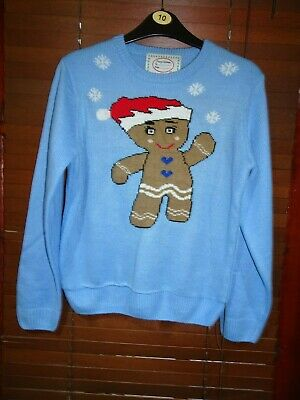 Girls Primark Blue Gingerbread Man Christmas Jumper *Age 10-11* Great Condition
