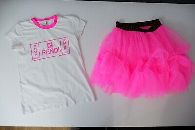 Fendi Outfit Set Top & Skirt Age 12 Years Pink & White Worn Once VGC