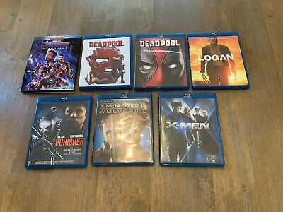 Lot of 7 Marvel Blu-Ray Movies Avengers Endgame Deadpool X-Men Punisher Logan
