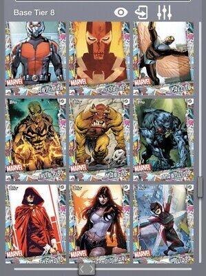 Topps Marvel Collect Lot Of 9 Base Tier 8 Comic Con Comic Panel