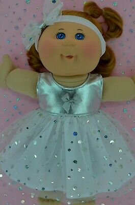 "Play n Wear Dolls Clothes For 14"" Cabbage Patch SILVER SEQUIN DRESS~HEADBAND"
