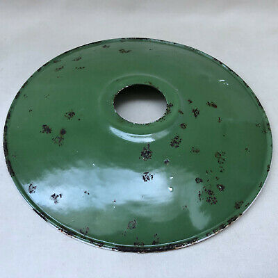 Vintage French Green Enamel Coolie Light Shade, Industrial Style Warehouse Loft