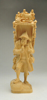 Oberammergau hand carved Wood Pipe smoking Peddler with Religious Scene