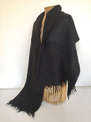 VINTAGE 80s LARGE BLACK MOHAIR SCARF RECTANGULAR / FRINGED EXC.COND