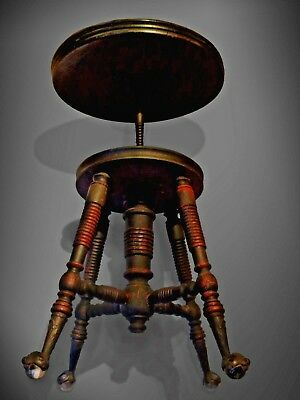 Antique Ebonised Piano Stool Late C.19th Patented Bronze Glass Ball Claw Feet