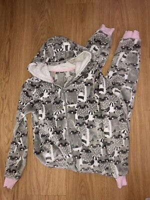 Debenhams Girls Racoon  Fleece  All In One Pjs Age 12 - Great Condition