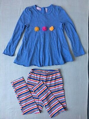 Girls Two Part Set Blue Roses Embellished Top And Multicoloured Bottoms 6Yrs