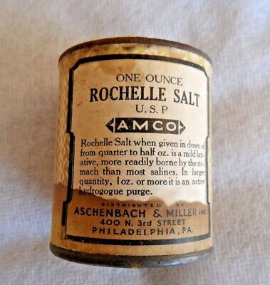 AMCO Antique U.S.P. Rochelle Salt apothecary medical tin vintage One Ounce