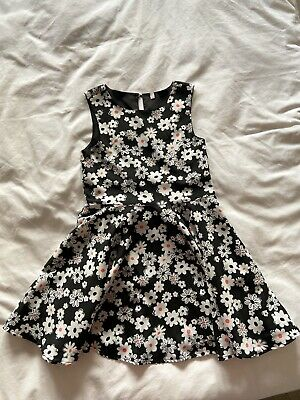 Black Floral Print Dress, Girls, Age 7-8, Marks and Spencer, Excellent Condition