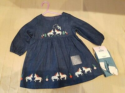 Marks & Spencer 2 piece Denim Dress Outfit - 6-9 months - Combined P&P -BNWT