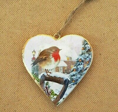 Christmas Robin Heart Decorations Metal Hearts Vintage Chic