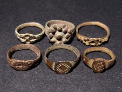 LOT of 6 pcs. ANCIENT CHILD ROMAN, BYZANTINE AND MEDIEVAL FINGER RINGS!!!