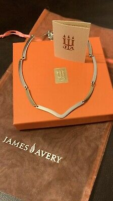 James Avery Retired 14K Gold & 925 Sterling Silver V Link Bar Chain Necklace 17""