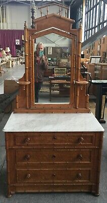 Rare Victorian Faux Bamboo Dresser w/ mirror and marble top