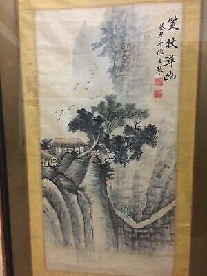 Antique Chinese Ink Watercolor  Painting Landscape Silk Scroll - Signed