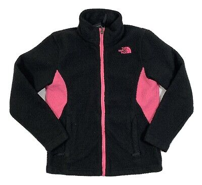 The North Face Girls Full Zip Fleece Jacket Black With Pink 10/12 Medium