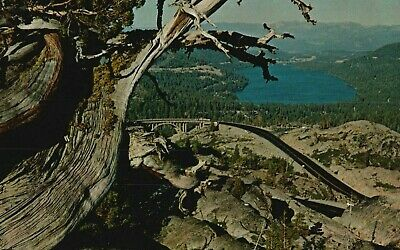 Bird's Eye View of Donner Lake From Donner Summit, Calif. Vintage Postcard A40