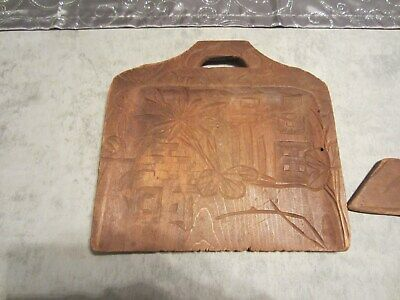 Vintage Wood hand carved crumb tray with scraper (2 pieces)