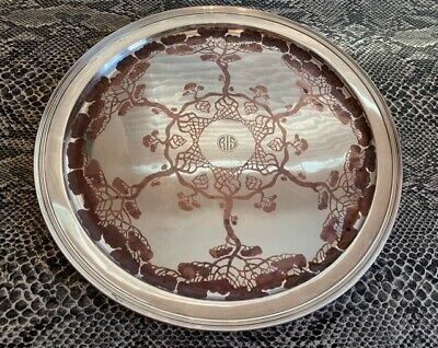 antique vintage Art Nouveau TIFFANY & CO. 927 Sterling Copper inlay 12.5 TRAY