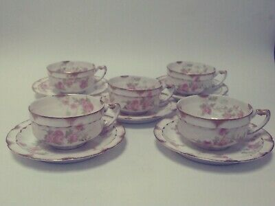 Beautiful Limoges Haviland & Co France Fine China Pink Floral /Gold Cup & Saucer