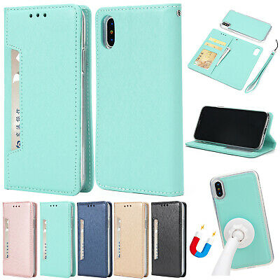 For iPhone 11 Pro Max XS XR 6 7 8+ Case Removable Magnetic Leather Wallet Cover