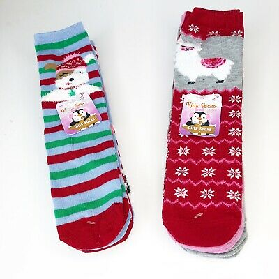 LeGale Holiday Fun Girls Socks 6 Pairs Two Designs Perfect Stocking Stuffers