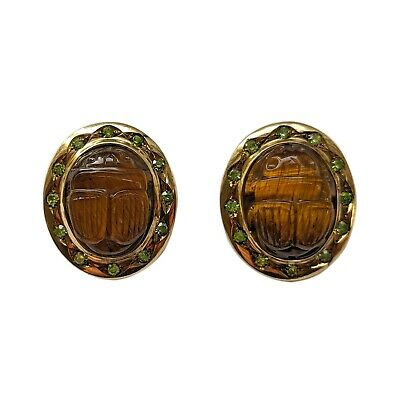 Antique Russian gold earrings with tiger's eye scarabs and demantoids marked HW