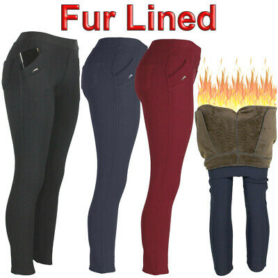 Womens Warm Fleece Fur Lined 4 Pocket Winter Thick Stretch Thermal Pants Legging