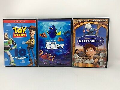 Disney Pixar DVD Bundle (3) - Finding Dory, Toy Story, Ratatouille-Fast Ship
