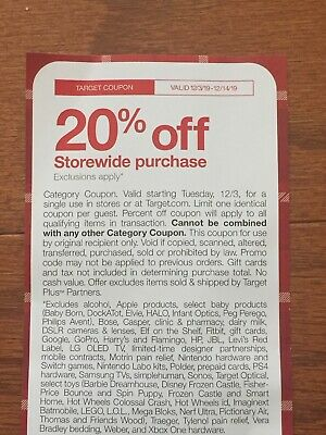 Target 20% Off Coupon Valid From 12/3-12/14/19! Exclusion Apply