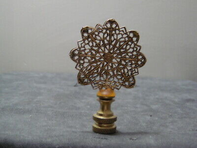 Antique Solid Brass Filigree Amber Anchored Rotating 15 Point Fan Finial