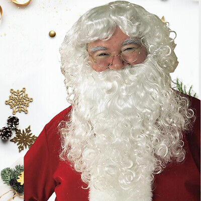 Santa Claus Wig & Beard Set Costume Adult Christmas Father Fancy Dress Gift
