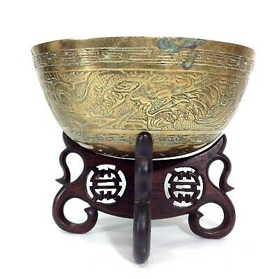 Antique or Vintage Chinese Bronze Brass Bowl Ming Dynasty Xuande Mark and Stand