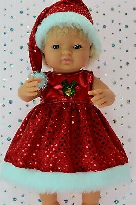 Dolls Clothes For 38cm Miniland Doll CHRISTMAS SEQUIN DRESS~HAT