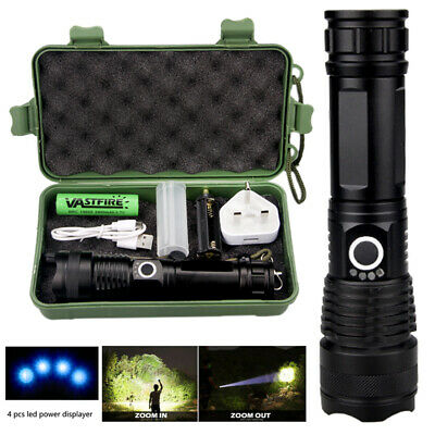 High Power 900000Lumens XHP50 Zoom Flashlight LED Rechargeable Torch 5-Modes IP6