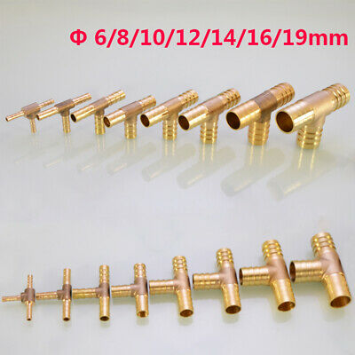 Brass T Tee Hose Barb Connector Fittings for Fuel Gas Dia 6/8/10/12/14/16/19mm
